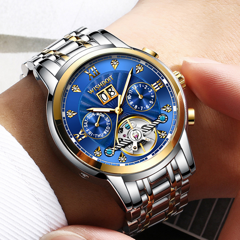 fcb152d5fa06 WISHDOIT nuevos hombres Reloj Mecánico Tourbillon de lujo de moda de acero  inoxidable relojes deportivos para hombre reloj automático reloj Masculino
