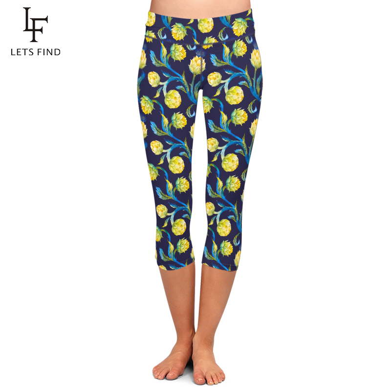 LETSFIND High Waist Slim Women Fashion Flowers Printing Elastic Capri Leggings Summer New Casual Plus Size Mid-Calf Pants
