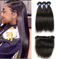 Lace frontal closure with bundles brazilian virgin hair 2pcs with bundles brazilian straight human hair with closure ear to ear