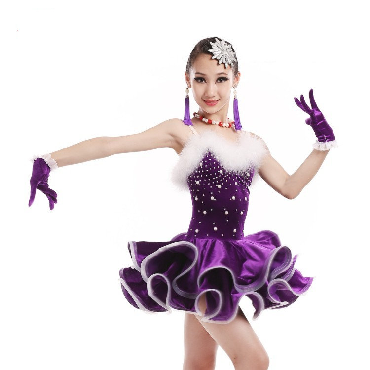 New 2016 Ballroom Tango Latin Salsa Dress Girls Unequal Ballroom Dance Clothes Skirts Samba Ballroom Dancing Dresses For Kids