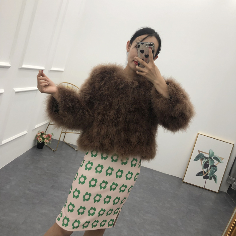 New Women  Real Fur Coat Genuine Ostrich Feather Fur Winter Jacket Retail / Wholesale Top Quality