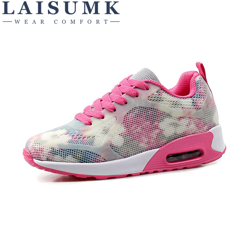 2018 LAISUMK Woman Casual Shoes Breathable Sneakers New Arrivals Fashion Mesh Sneakers Shoes Free Shipping