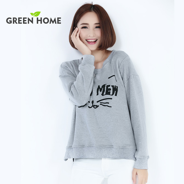 long sleeve maternity clothes grey round neck breastfeeding tops Green Home casual good selling maternity hoodies without hood
