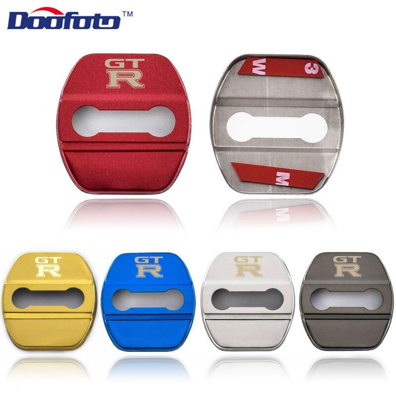Doofoto Stainless Steel Lock Covers Car Styling For Nissan GTR Juke Qashqai GT-R Auto Emblems Tiida Teana GT R Accessories 4pcs