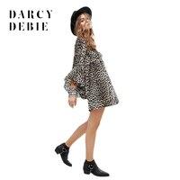 Darcydebie Moda wiosna Kobiety sexy hollow koronki głęboki Dekolt głośnik rękawem leopard mini wysokiej talii sukienka temperamentu