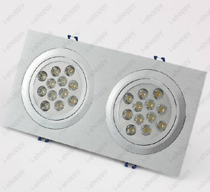 24W 2X12W 24 LED Ceiling Down Light Fixture Grill Hotel Store Lamp AC 85 265V