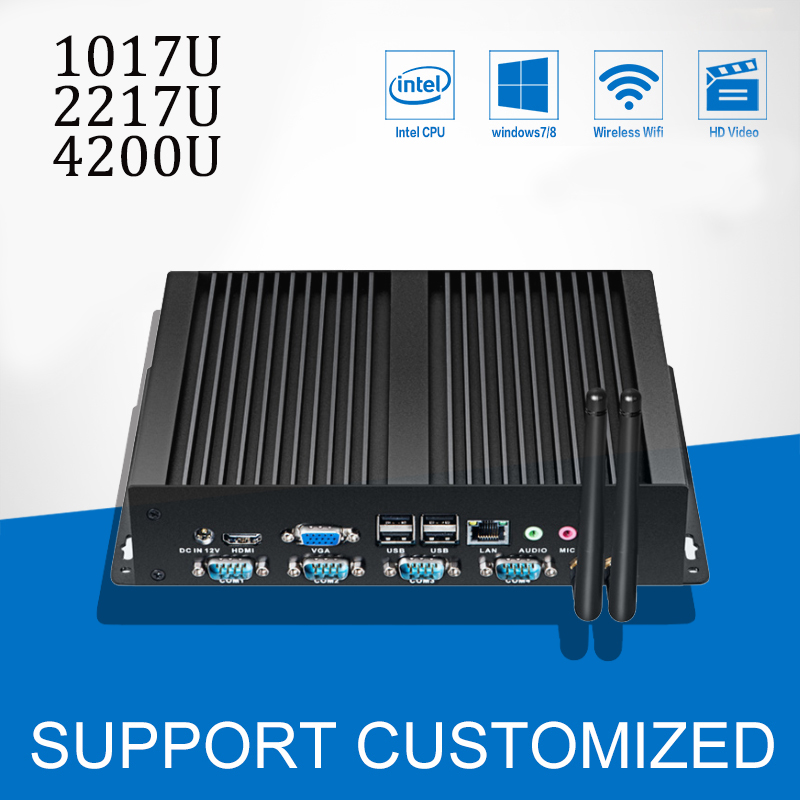 Fanless Industrial Computer Core i5 4200U Pentium 2117U Mini PC Celeron 1017U 4 COM 1 LAN Windows 10 Mini Desktop 4*RS232 HDMI campus pioneer 200 xl
