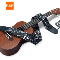 PU leather guitar strap Printed ethnic guitar straps Musical instrument guitar accessories strap factory