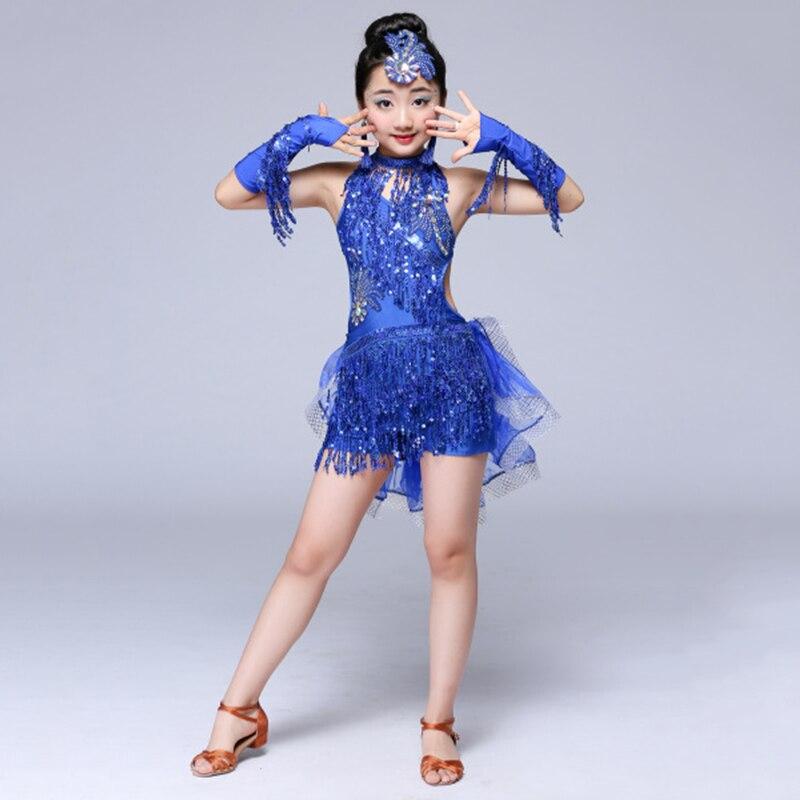 Sequin Fringe Tassel Salsa Dress Child Kids Dresses Latin Dance Wear for Girls Latin Ballroom Tango Spandex Children 2019 Rumba