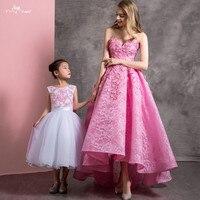 RSE901 Элегантный бальное платье Милая декольте высокая низкая кружево розовый Vestido Longo Robe Vestido D'honneur подружки невесты