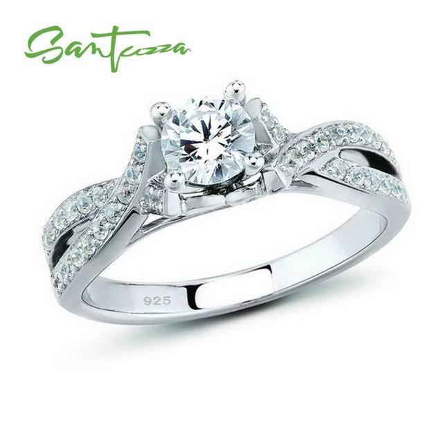 Серебряные кольца для женщины Обручение обручальное кольцо белые  кубического циркония камни кольца чисто 925 пробы серебро b31f51d9892cb