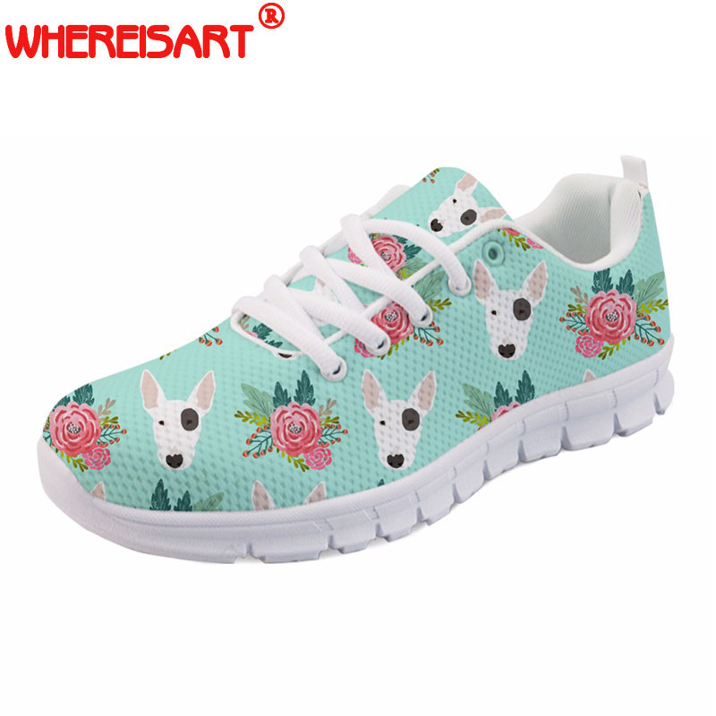 WHEREISART Cute Women Spring Shoes Animal Bull Terrier Printed Women's Sneakers Casual Female Flats Lace up Shoes Woman Zapatos