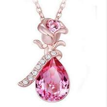 High Quality Angel Crystal 2018 Hot Trend Rose Flower Pendant Necklace Charm Gold Silver Beauty Rose Jewelry Necklace For Women(China)