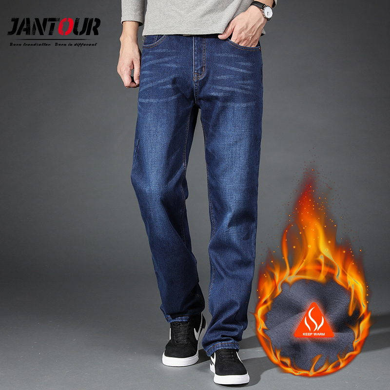 Warm Fleece   Jeans   Mens winter High Quality Famous Brand velvet   Jean   trousers flocking warm soft men pants 40 42 44 Large size