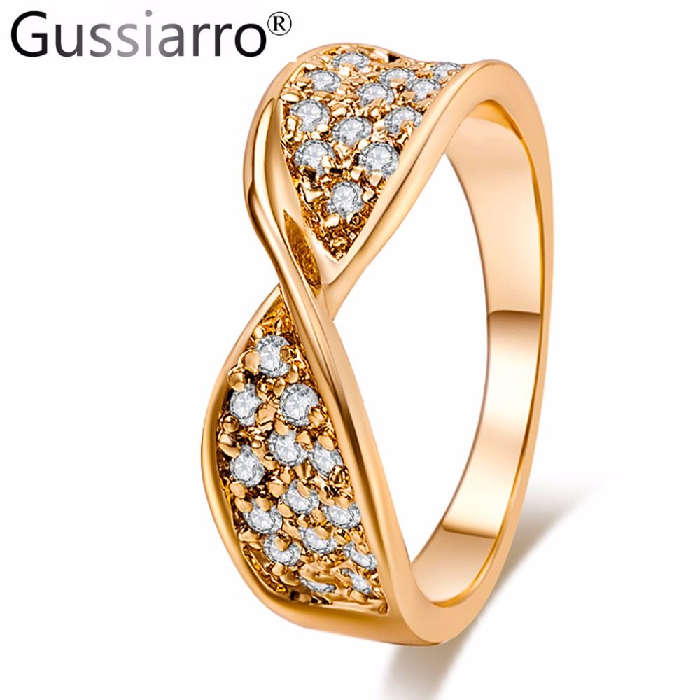 bargain deals cheap wedding rings set promotion inexpensive wedding ring sets Gussiarro Classic Anti Allergy Clear Crystal Paved Engagement Rings Sets Yellow Gold Plated CZ Wedding Jewelry For Women