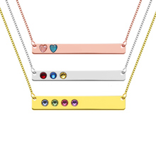 AILIN Bar Necklace Personalized Backside Engraving and Birthstone Mother