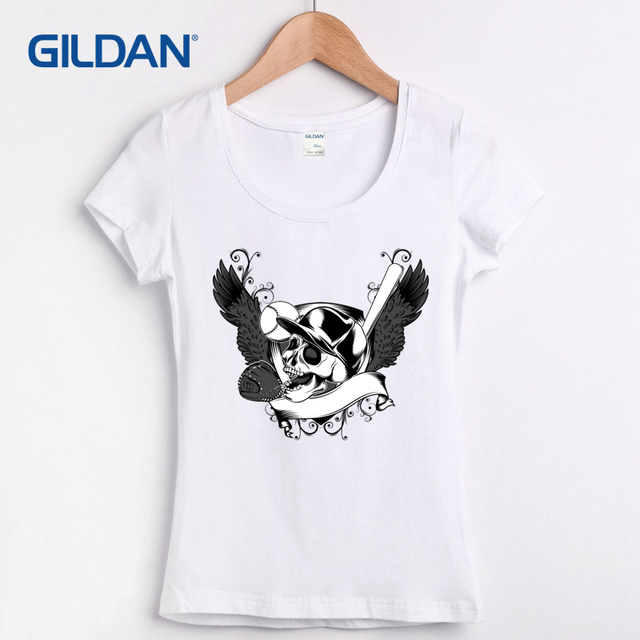 5001785c3eafc5 Western Tee Shirt Hip Hop Cotton Skull and Baseball Collage Femme Womens  Tshirt Short Sleeve Clothing Cool T-shirts Women O Neck