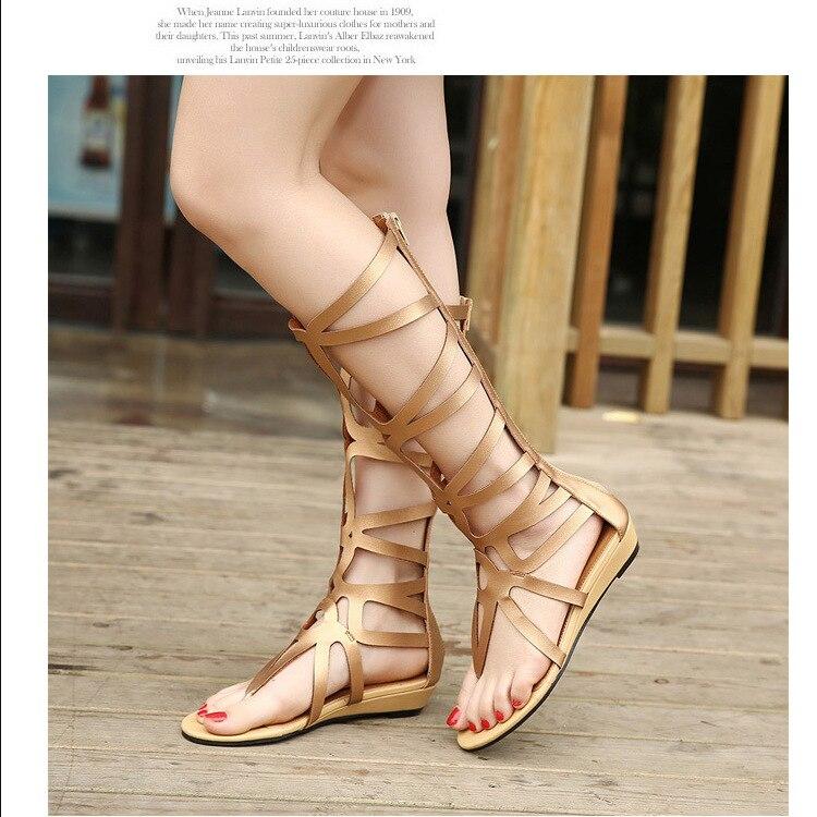 2018 Li Milan explosion sandales femme été haute tube bottes romaines femmes laser coupe chaussures pour femmes