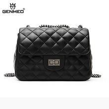 GENMEO New Famous Design Goat Leather Handbag Women Genuine Shoulder Bag with Chain Strap Female Luxury Bags Bolsa