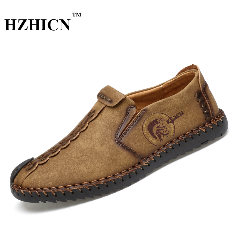 New Style Comfortable Casual Shoes Men Genuine Leather Shoes Non-slip Flats Handmade Oxfords Soft Loafers Luxury Brand Moccasins split leather dot men casual shoes moccasins soft bottom brand designer footwear flats loafers comfortable driving shoes rmc 395