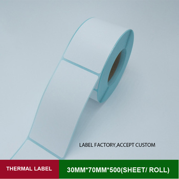 Blank sticker label 30mm*70mm 500pcs paper roll White Self adhesive sticker paper thermal barcode labels waterproof