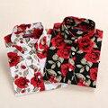Dioufond novo blusas mulheres do vintage print floral de algodão camisas casual clothing longos das senhoras da luva tops plus size feminino 2017