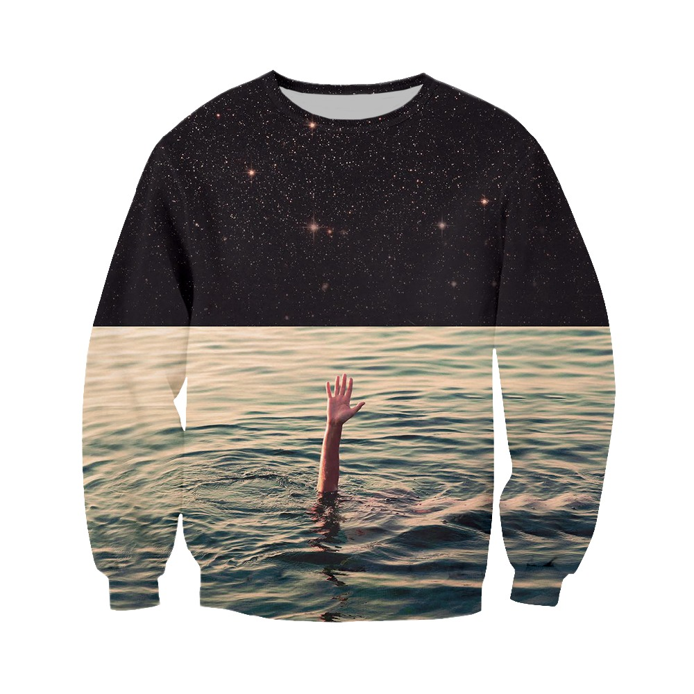 LIASOSO latest minimalist creative polyester shirt 3D printing starry sea men and women hooded sweatshirt series CX179