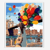 Urijk Romantic Oil Painting By Numbers Canvas DIY Couple With Balloons Handpainted Painting Coloring Home Decor