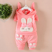 0 4 Years Baby Kids Girls Sets Rabbit Hooded Jacket Pants Autumn Winter Overalls Suits Cute