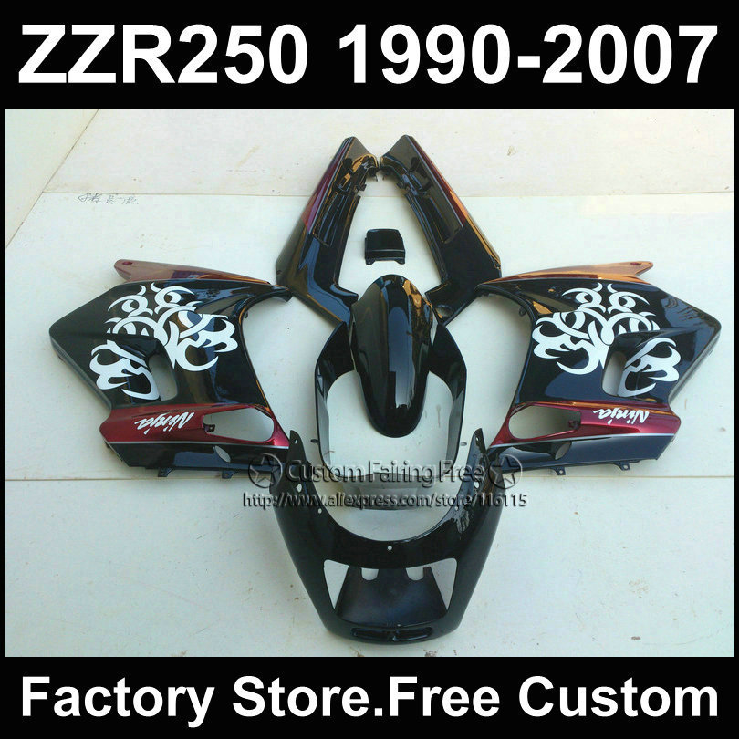 7 gifts custom fairings set for Kawasaki ZZR-250 ZZR250 1990 1992 2007 ZZR 250 90-07 glossy white in black red fairing body kits