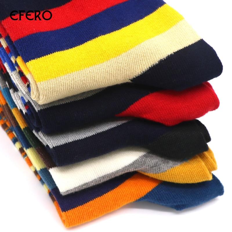 efero 2pair Cotton Funny Socks Mens Stripes Socks Colored Design Popular Mens Dress Socks Sokken Heren Chaussette Homme