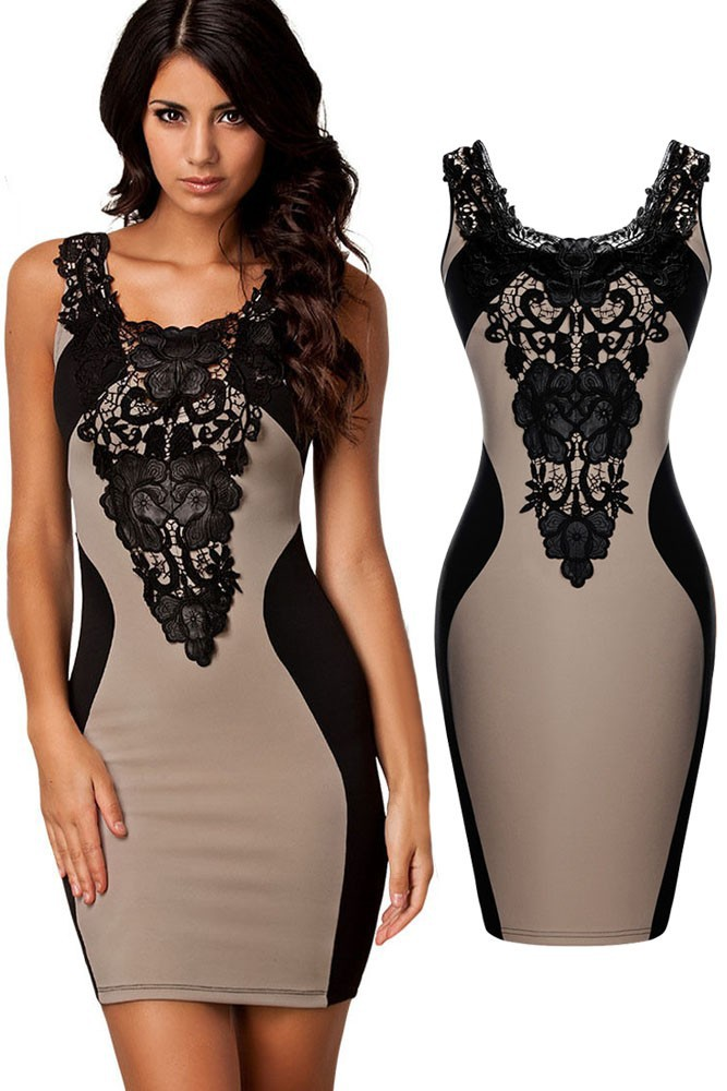 Khaki-Sexy-Lace-Contrast-Cocktail-Party-Evening-Bodycon-Dress-LC21548-1