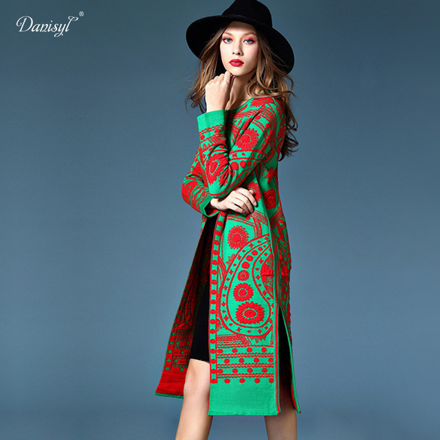 Spring Summer Luxurious Women Wool Cardigans Flower Pattern Long