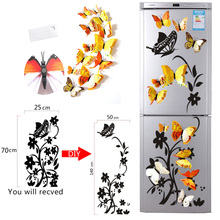Butterfly Flowers Refrigerator Sticker PVC Wall  3D Double Layer Color Magnetic Decorative Stickers Home Decor