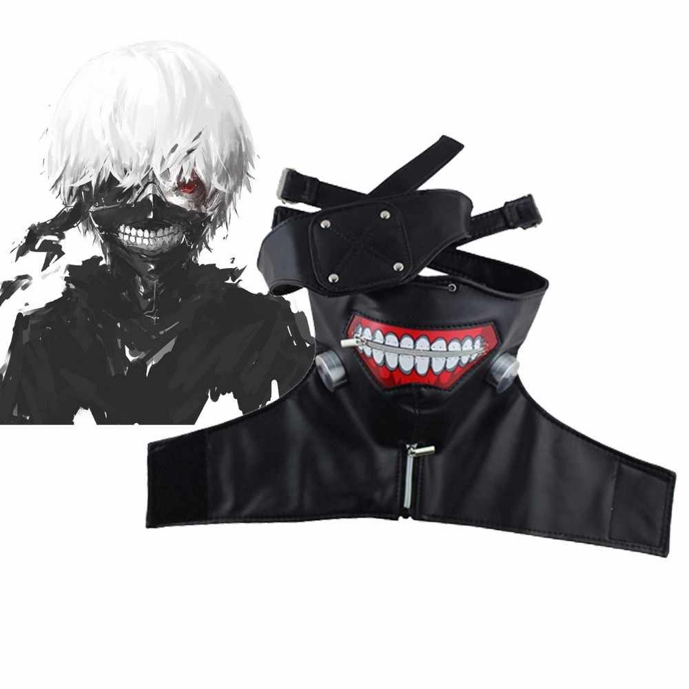 Anime Tokyo Ghouls Kaneki Ken Cosplay Mask Adjustable Zipper Faux Leather Black White Face Masks Men Women Halloween Party Masks