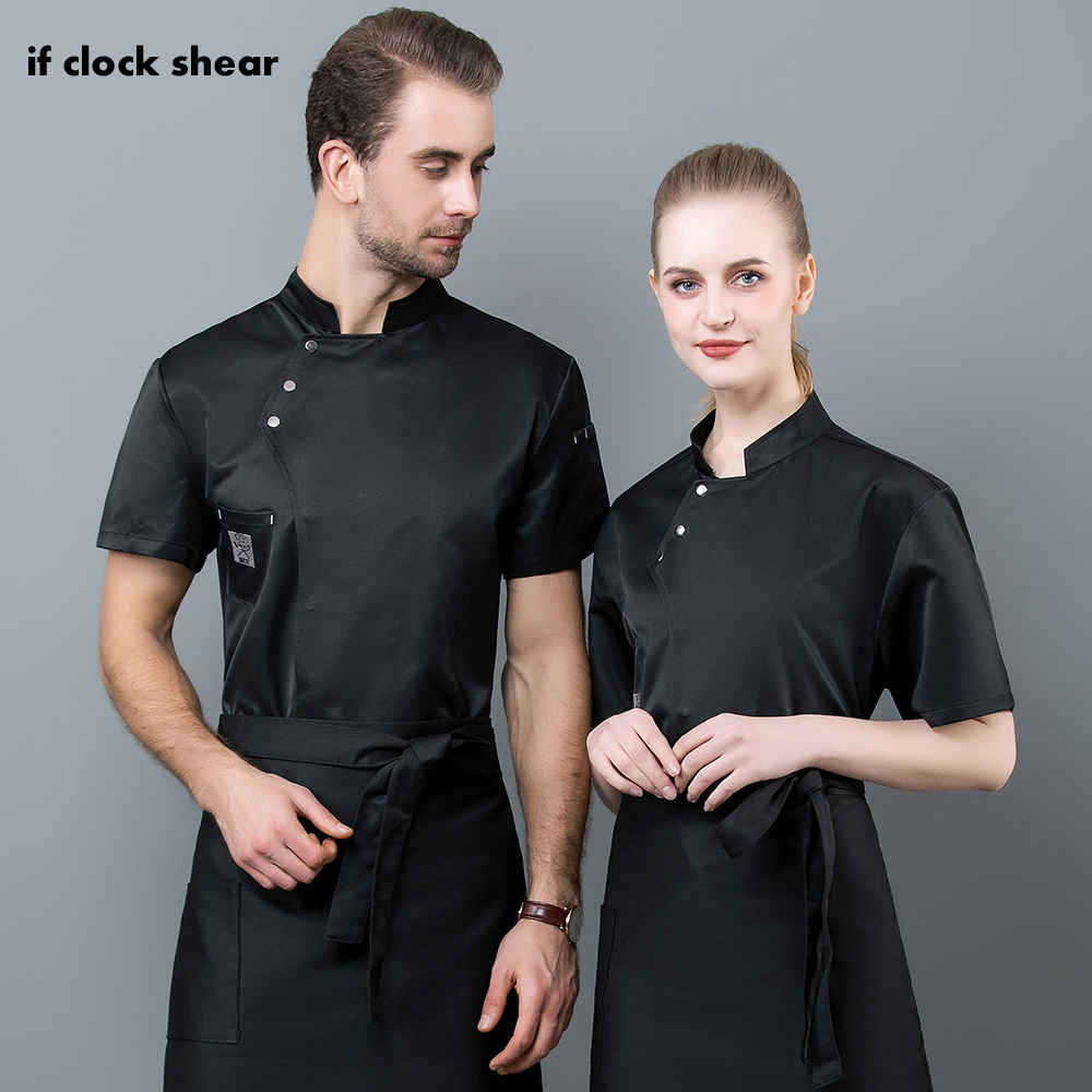 2019 Cook Coat Wholesale Unisex Kitchen Chef Restaurant Uniform Shirt Breathable Double Breasted Dress Chef Jacket Chef Works IF