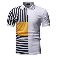 Stripe splicing Polo Shirt Men Summer Tops Business Short sleeve Casual Mens Clothing Tees Blouse