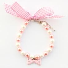 Pearl pendant bone Dog Necklace