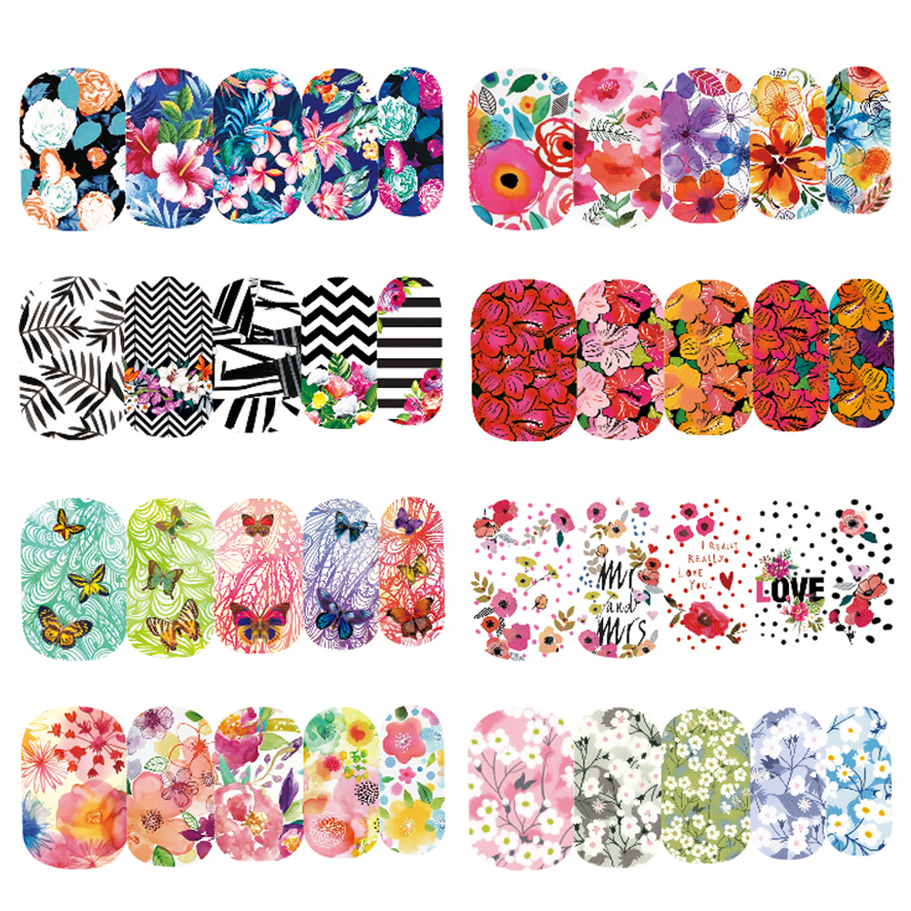 1 Sheet Water Transfer Designed Nail Sticker Blossom Flower Colorful Full Tips Stamp Decals Nail Art Manicure SAWG266-290 9 rolls colorful flower nail foil 4 100cm holographic starry full fingernail manicure nail art transfer sticker