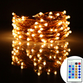 49Ft 15m 150Leds Copper Wire LED String Lights Christmas Starry Fairy Lights Decoration Party+12V 1A Adapter+24V Remote Control
