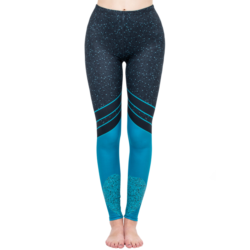 Fashion Women Legging Starry Sea Love Printing Leggins High Waist Punk Leggings Color Legins Slim Fitness Pants