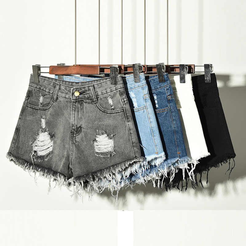 Летние женские шорты больших размеров 2019 модные новые рваные с высокой талией женские джинсовые шорты тонкие сексуальные свободные женские шорты