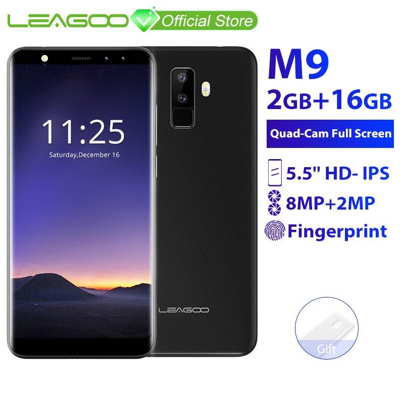 "LEAGOO M9 2GB RAM 16GB ROM Mobile Phone Android 7.0 5.5"" 18:9 Full Screen MT6580A Quad Core 8MP Fingerprint ID 3G Smartphone"