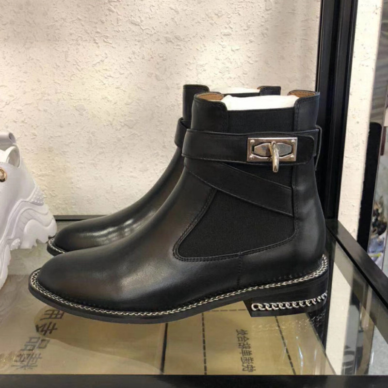 Stiletto stitching Martin Chelsea boots round toe silver chain black leather chunky ankle boots female fashion design ankle boot цена