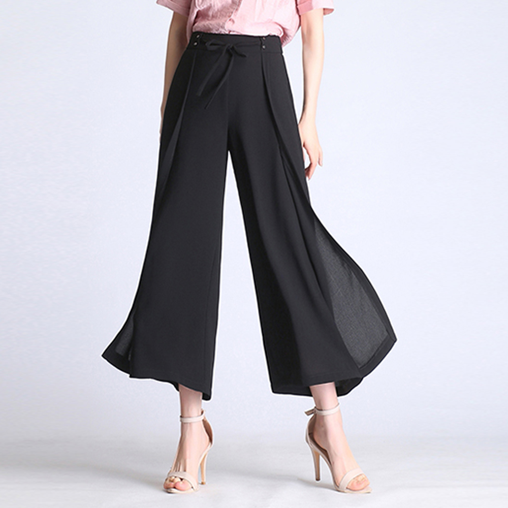 2019 summer chiffon wide leg pants women plus size elastic waist loose dance pants lady high waist street wear casual  pants