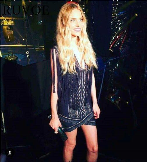 Hl Gland vert Bandage Dames 96 Summer Partie Piontelle Sy New Bleu Justice 2016 V Cou Dress Clubwear Victoria Crochet Fringe mOy0wnvN8