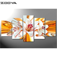 ZOOYA 3D Diamond Embroidery DIY Multi Diamond Painting Rhinestones Embroidery Diamond Cross Stitch Landscape White Flower
