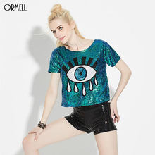 Women's Evil Eye Crop Top Casual T Shirt