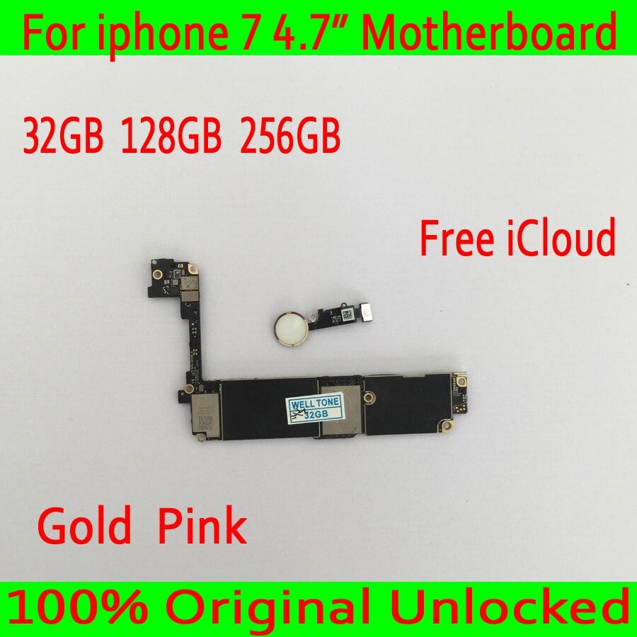 Or/Rose avec Tactile ID pour iphone 7 Carte Mère avec IOS Système, 100% débloqué Original pour iphone 7 Carte Logique