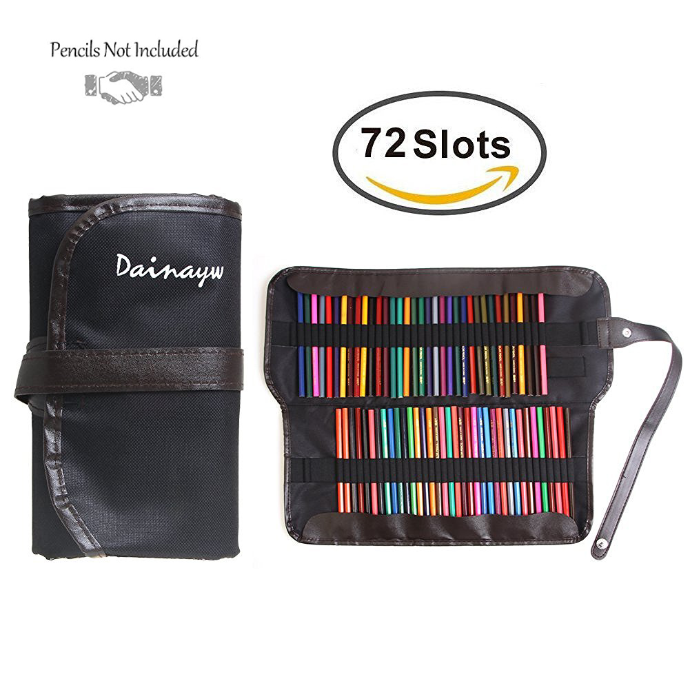 72 Pencil Holder Colored Pencil Bag Art Professional Canvas Roll School Pencil Case For Storage Escolar Estuche Box Stationery good quality 36 48 72 holes canvas pencil case roll up sketch painting pen box school office pencil stationery bag b066